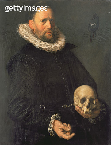 <b>Title</b> : Portrait of a Man Holding a Skull, c.1611-12 (panel)<br><b>Medium</b> : oil on panel<br><b>Location</b> : The Barber Institute of Fine Arts, University of Birmingham<br> - gettyimageskorea