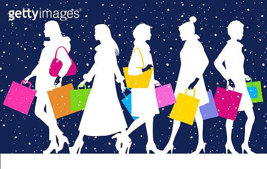 Christmas High Street Shoppers - gettyimageskorea