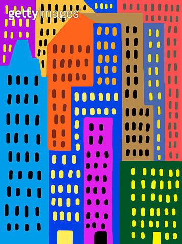 Child's drawing of colorful skyscrapers in the city - gettyimageskorea
