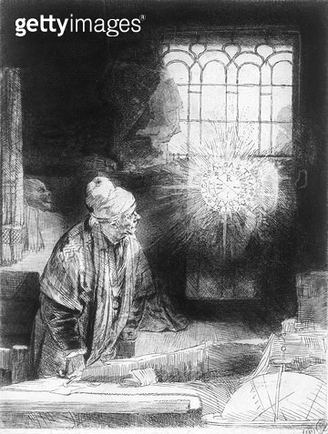 <b>Title</b> : Dr Faustus in his Study (engraving)<br><b>Medium</b> : engraving<br><b>Location</b> : Leeds Museums and Galleries (City Art Gallery) U.K.<br> - gettyimageskorea