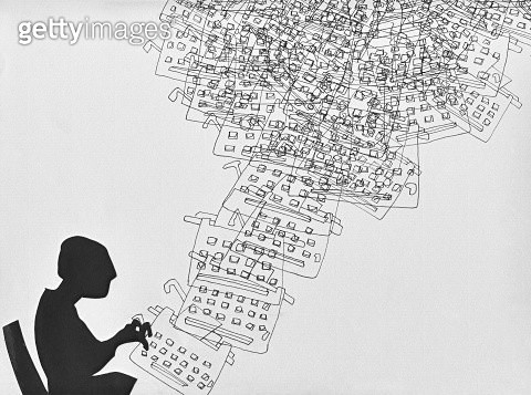 Silhouettes of sitting model and typing on typewriter, illustration. - gettyimageskorea