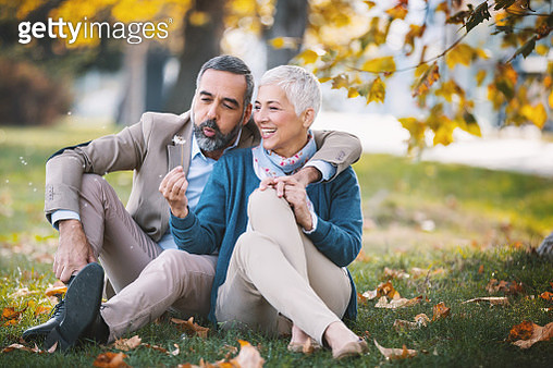 Mid aged couple in a park - gettyimageskorea