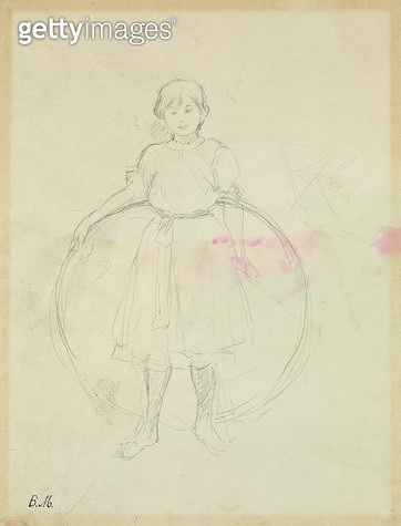 <b>Title</b> : Young Girl with a Hoop, 1888 (graphite on paper)<br><b>Medium</b> : graphite on paper<br><b>Location</b> : Musee Marmottan, Paris, France<br> - gettyimageskorea