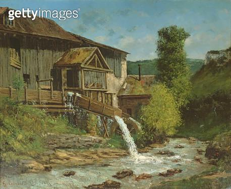 <b>Title</b> : The Sawmill on the River Gauffre (oil on canvas)Additional InfoLa Scierie sur la Gauffre;<br><b>Medium</b> : <br><b>Location</b> : Private Collection<br> - gettyimageskorea