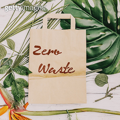 directly above precycled paper bag and green leaves:ZERO WASTE - gettyimageskorea