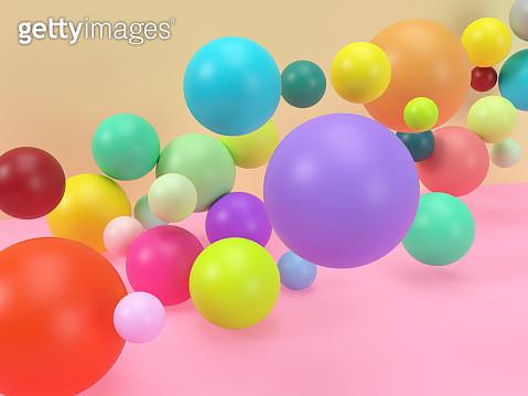 Creative digital picture of colorful balls levitating in studio set. - gettyimageskorea