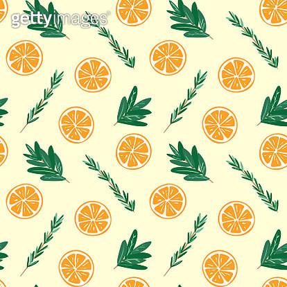 Seamless oranges and herbs pattern illustration - gettyimageskorea