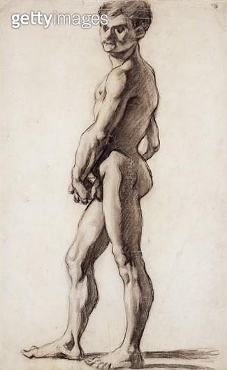 <b>Title</b> : PD.55-1961 Male Nude, c.1863 (black chalk on paper)<br><b>Medium</b> : black chalk on paper<br><b>Location</b> : Fitzwilliam Museum, University of Cambridge, UK<br> - gettyimageskorea