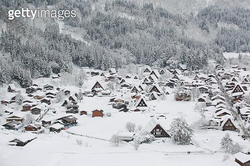 Close-Up Of Shirakawa Village On Snow Covered Landscape - gettyimageskorea