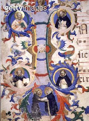 <b>Title</b> : Ms 558 f.67v Historiated initial 'I' depicting (clockwise) SS. Augustine, Ambrose, Peter Martyr, Gregory, and Jerome, detail fro<br><b>Medium</b> : vellum<br><b>Location</b> : Museo di San Marco dell'Angelico, Florence, Italy<br> - gettyimageskorea