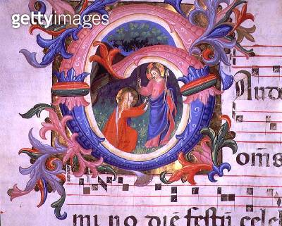 <b>Title</b> : Ms 558 f.64v Historiated initial 'G' depicting Noli Me Tangere, detail from a Missal, early 1430s (vellum)<br><b>Medium</b> : vellum<br><b>Location</b> : Museo di San Marco dell'Angelico, Florence, Italy<br> - gettyimageskorea