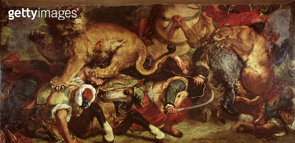 <b>Title</b> : The Lion Hunt, 1855 (oil on canvas)<br><b>Medium</b> : <br><b>Location</b> : Musee des Beaux-Arts, Bordeaux, France<br> - gettyimageskorea