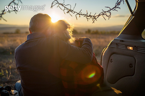 Senior couple outdoors with car - gettyimageskorea