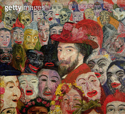 <b>Title</b> : My Portrait Surrounded by Masks, 1899 (oil on canvas) (detail of 170289)<br><b>Medium</b> : oil on canvas<br><b>Location</b> : Private Collection<br> - gettyimageskorea
