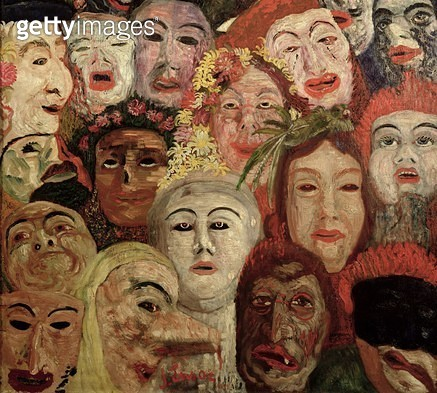 <b>Title</b> : My Portrait Surrounded by Masks, 1899 (oil on canvas) (see also 170289 & 188976)<br><b>Medium</b> : oil on canvas<br><b>Location</b> : Private Collection<br> - gettyimageskorea