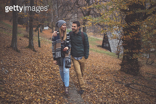 Together hiking in forest - gettyimageskorea