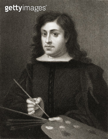 <b>Title</b> : Bartolome Esteban Murillo (c.1618-82) from 'The Gallery of Portraits', published in 1833 (engraving)<br><b>Medium</b> : <br><b>Location</b> : Private Collection<br> - gettyimageskorea
