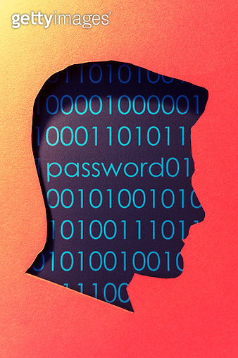 Cut out illustration of human head and word password. - gettyimageskorea