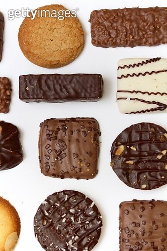 High Angle View Of Chocolates On White Background - gettyimageskorea
