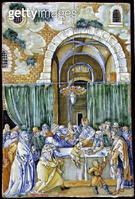 <b>Title</b> : C.91-1961 Panel depicting The Rejection of Joachim's Offering, probably by Ferruccio Mengaroni (1875-1930) after Albrecht Durer<br><b>Medium</b> : tin-glazed earthenware<br><b>Location</b> : Fitzwilliam Museum, University of Cambridge, UK<b - gettyimageskorea