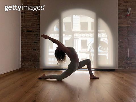 spanish girl practicing yoga in Barcelona - gettyimageskorea