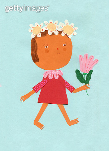girl with flower collage - gettyimageskorea