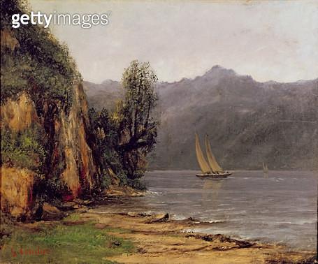 <b>Title</b> : Vue du Lac Leman, c.1873-77 (oil on canvas)<br><b>Medium</b> : <br><b>Location</b> : Musee des Beaux-Arts et d'Archeologie, Besancon, France<br> - gettyimageskorea