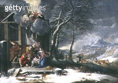 <b>Title</b> : Winter Landscape with Nativity (oil on canvas)<br><b>Medium</b> : oil on canvas<br><b>Location</b> : Southampton City Art Gallery, Hampshire, UK<br> - gettyimageskorea