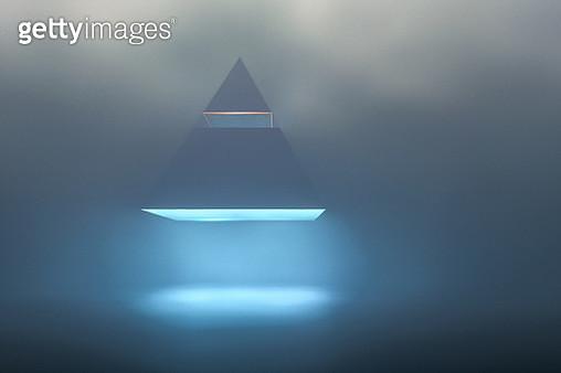 Landing UFO pyramid in foggy night. - gettyimageskorea