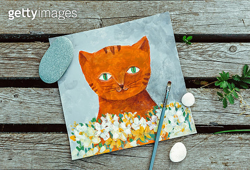 Ginger Cat with white flowers. Gray textured background. Painting done by me - gettyimageskorea