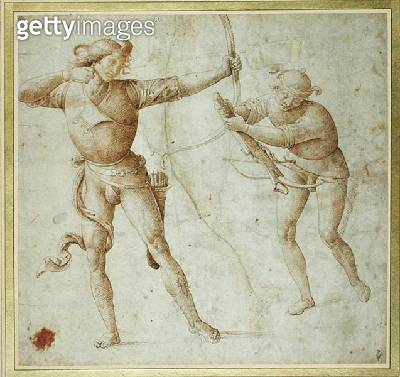 <b>Title</b> : Two Standing Male Figures, one firing a bow and the other arming a crossbow (pen & ink on paper)Additional Infodeux figures d'ho<br><b>Medium</b> : pen and ink on paper<br><b>Location</b> : Musee Conde, Chantilly, France<br> - gettyimageskorea