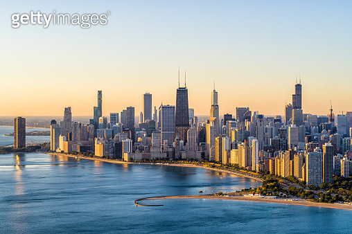 Chicago Aerial Cityscape at Sunrise - gettyimageskorea