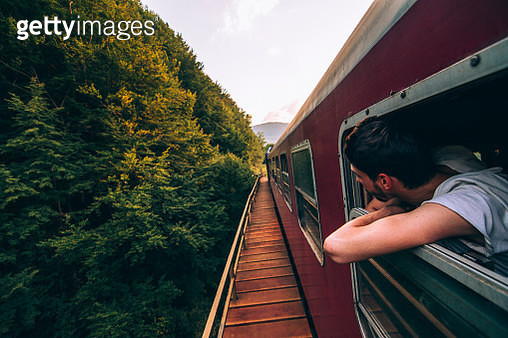 Man In Train - gettyimageskorea