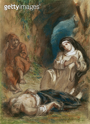 <b>Title</b> : Lelia in the Cave, from 'Lelia' by George Sand (1804-76) c.1852 (pastel on paper)Additional InfoAmandine Aurore Lucile Dudevant,<br><b>Medium</b> : <br><b>Location</b> : Musee de la Ville de Paris, Musee Carnavalet, Paris, France<br> - gettyimageskorea