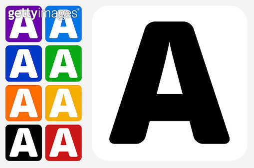 Letter A Icon Square Button Set. The icon is in black on a white square with rounded corners. The are eight alternative button options on the left in purple, blue, navy, green, orange, yellow, black and red colors. The icon is in white against these vibra - gettyimageskorea