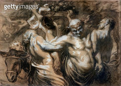 <b>Title</b> : The Drunken Silenus (charcoal & bodycolour on paper)<br><b>Medium</b> : <br><b>Location</b> : Musee des Beaux-Arts, Calais, France<br> - gettyimageskorea