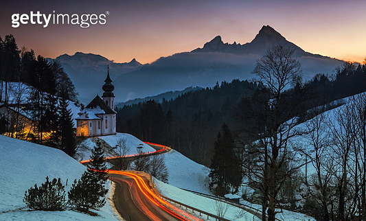 Maria Gern Church at sunset (Bavarian Alps with Watzmann in background - Berchtesgadener Land/ Bavaria/ Germany) - gettyimageskorea