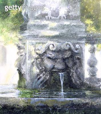 Fountain in the Borghese Gardens/ Rome/ 1982 (w/c and gouache on paper) - gettyimageskorea