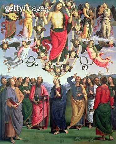 <b>Title</b> : The Ascension of Christ, 1495-98 (oil on panel)<br><b>Medium</b> : oil on panel transferred to canvas<br><b>Location</b> : Musee des Beaux-Arts, Lyon, France<br> - gettyimageskorea