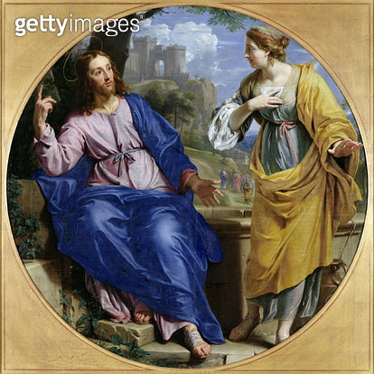 <b>Title</b> : Christ and the Woman of Samaria at the Well, 1648 (oil on canvas)<br><b>Medium</b> : oil on canvas<br><b>Location</b> : Musee des Beaux-Arts, Caen, France<br> - gettyimageskorea