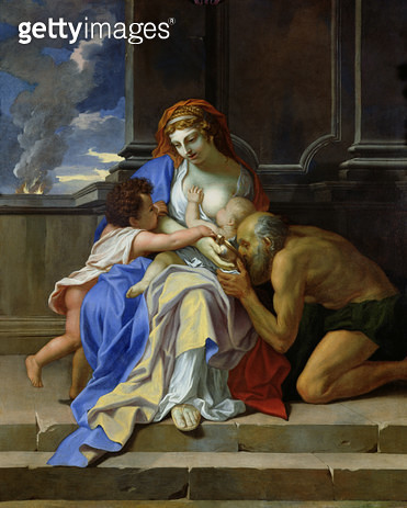 <b>Title</b> : An Allegory of Charity, c.1642-48 (oil on canvas)<br><b>Medium</b> : oil on canvas<br><b>Location</b> : Musee des Beaux-Arts, Caen, France<br> - gettyimageskorea