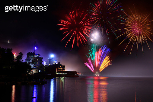 Fireworks reflection in Sun Moon Lake at night. - gettyimageskorea