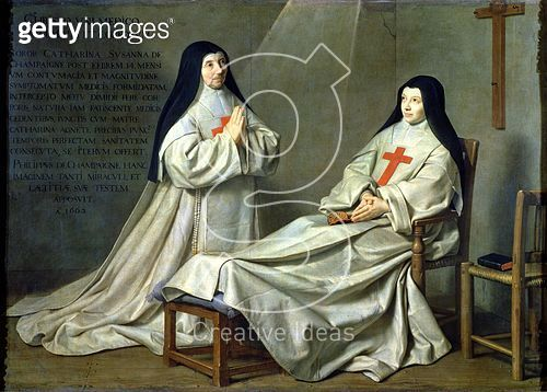 <b>Title</b> : Portrait of Mother Catherine-Agnes Arnauld (1593-1671) and Sister Catherine of St. Suzanne Champaigne (1636-86) the artist's daughter, 1662 (oil on canvas) (for detail see 89737)<br><b>Medium</b> : oil on canvas<br><b>Location</b> : Louvre, - gettyimageskorea