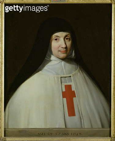 <b>Title</b> : Portrait of Mother Marie-Angelique Arnauld (1591-1661) Abbess of Port-Royal, aged 57, 1648 (oil on canvas)<br><b>Medium</b> : <br><b>Location</b> : Musee Conde, Chantilly, France<br> - gettyimageskorea
