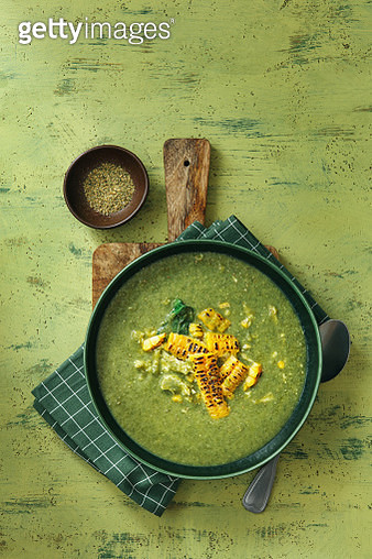 Summer Creamy Asparagus and Pea Soup with Corn and Chicken - gettyimageskorea