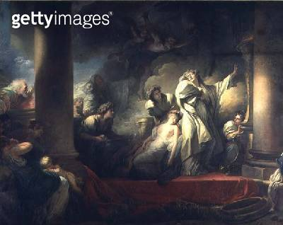<b>Title</b> : High Priest Coresus Sacrificing Himself to Save Callirhoe, scene from 'Description of Greece' by Pausanias (2nd century AD) 1765<br><b>Medium</b> : oil on canvas<br><b>Location</b> : Louvre, Paris, France<br> - gettyimageskorea
