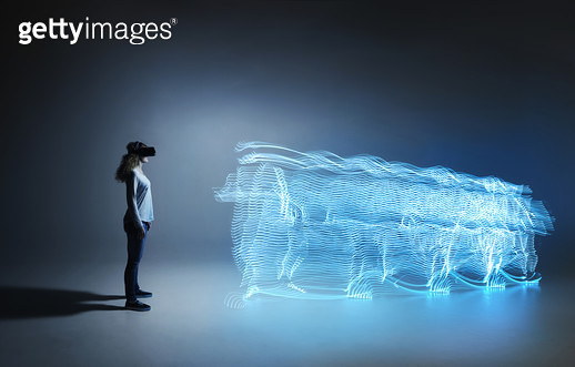 Young woman with light trace - gettyimageskorea