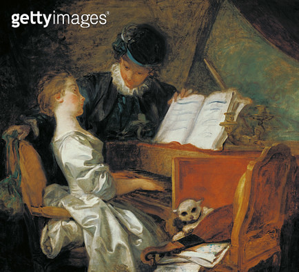 <b>Title</b> : The Music Lesson (oil on canvas)<br><b>Medium</b> : oil on canvas<br><b>Location</b> : Louvre, Paris, France<br> - gettyimageskorea