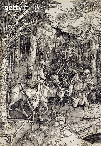 <b>Title</b> : The Flight into Egypt, c.1500 (woodcut)<br><b>Medium</b> : woodcut<br><b>Location</b> : Harris Museum and Art Gallery, Preston, Lancashire, UK<br> - gettyimageskorea