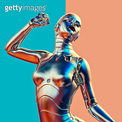 Chrome robot standing in ecstasy with eyes closed against colorful contrasting background - gettyimageskorea